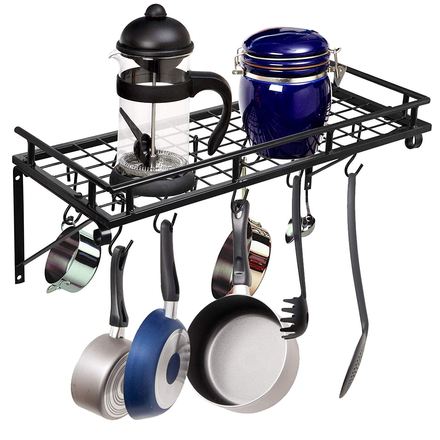 Get quotations · zeny pot rack wall mountedpot pan hanging racks with 10 hookskitchen storage