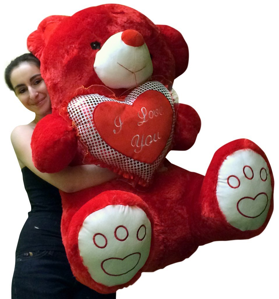 Buy Giant Valentines Day Red Teddy Bear Soft With Bigfoot Paws Holds