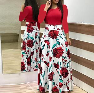 Women Ladies Autumn Winter Rose Print Round Collar Long Sleeve Red Dress Long Maxi Dress