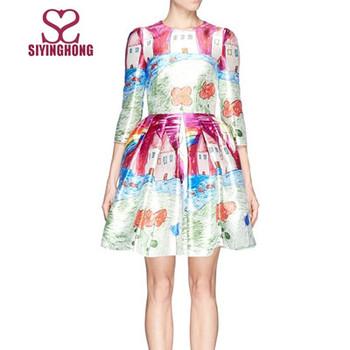 2015 Musim Gugur Busana Gaun Desain Sketsa Cetak Sutra Gaun Floral Buy Floral Dress Sketsa Print Dress Wanita Floral Dress Product On Alibaba Com