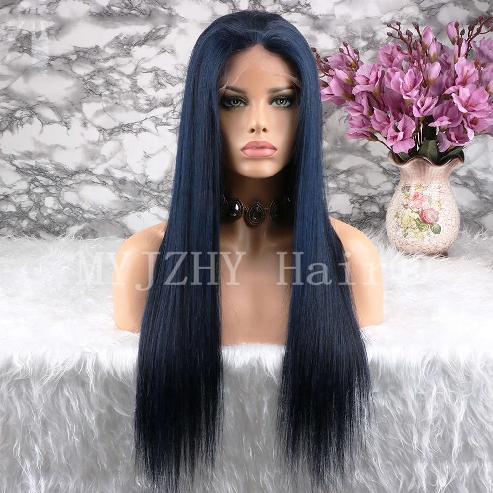 Cuticle Aligned Long Dark Blue Silky Straight Lace Front Brazilian Human Hair Wigs