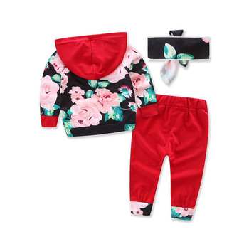 Baby girl sport set floral hoodie pants 2pcs christmas car