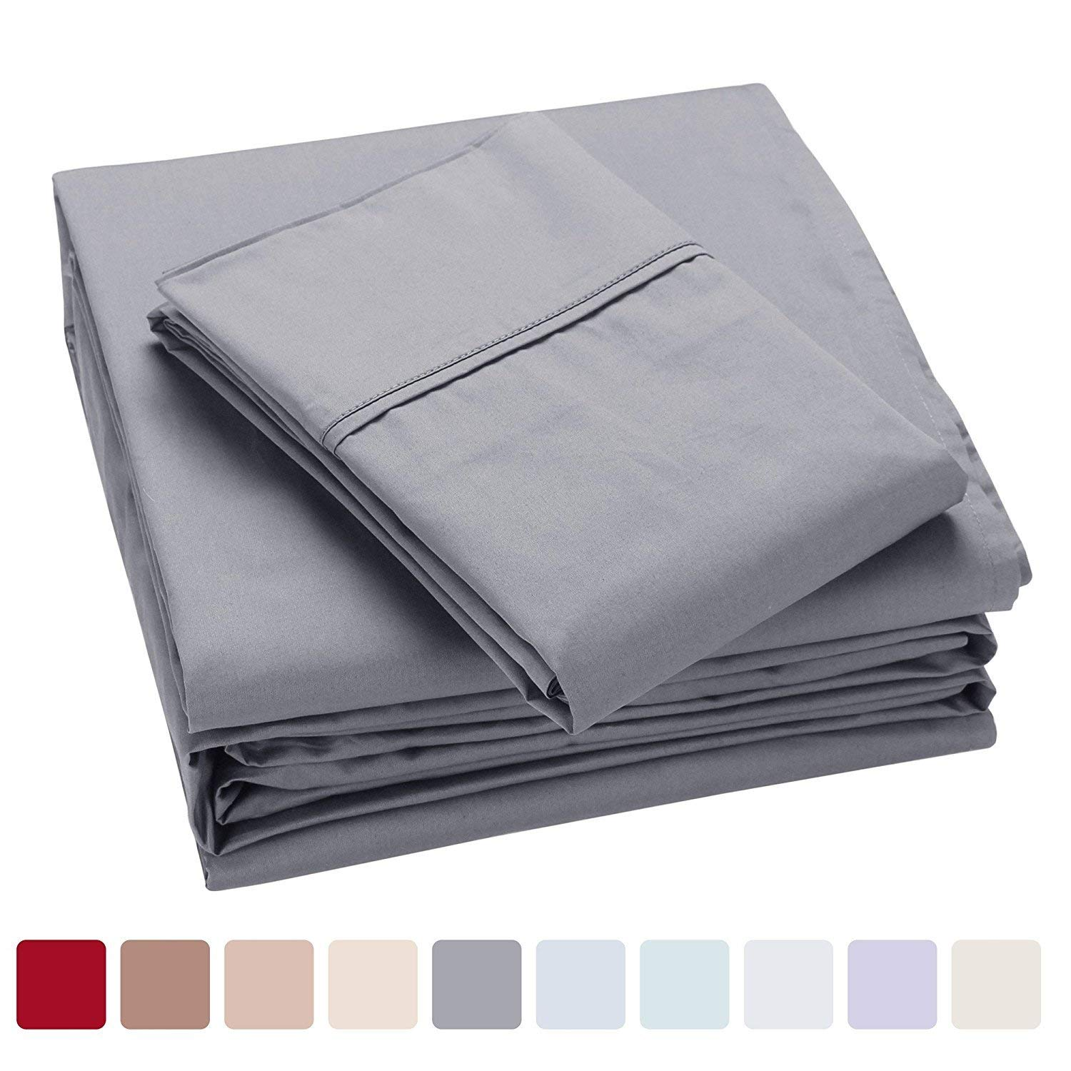 100% Cotton Bed Sheets, 400 Thread Count Pure Cotton Sateen Sheets, Cool Bed Sheets for Summer, Fits Mattress Upto 13'' Deep Pocket, Dark Gray, King