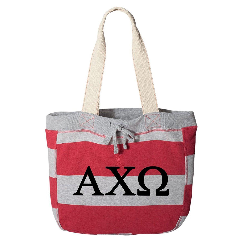 Alpha Chi Omega Striped Beachcomber Tote Bag