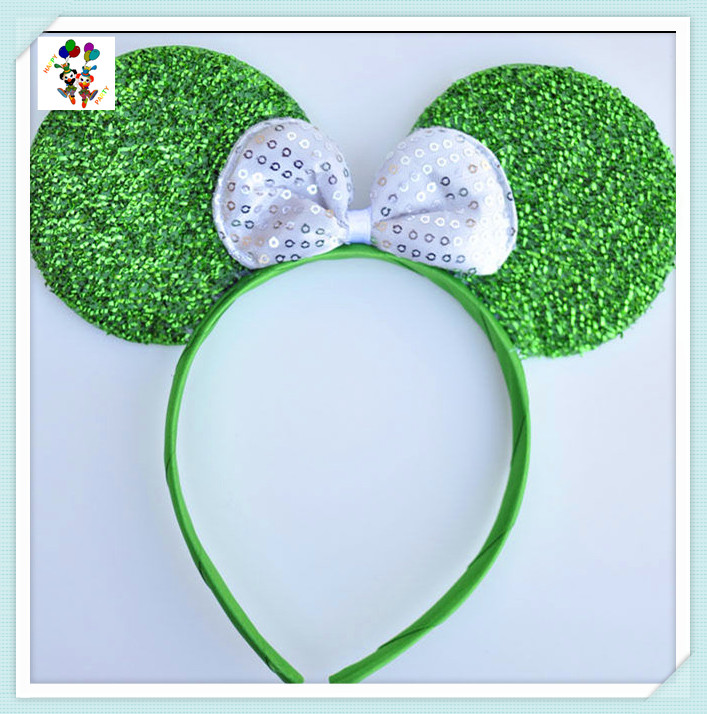 Alice Party Bows Green Sparkly Minnie Mouse Ears Headbands HPC-2172