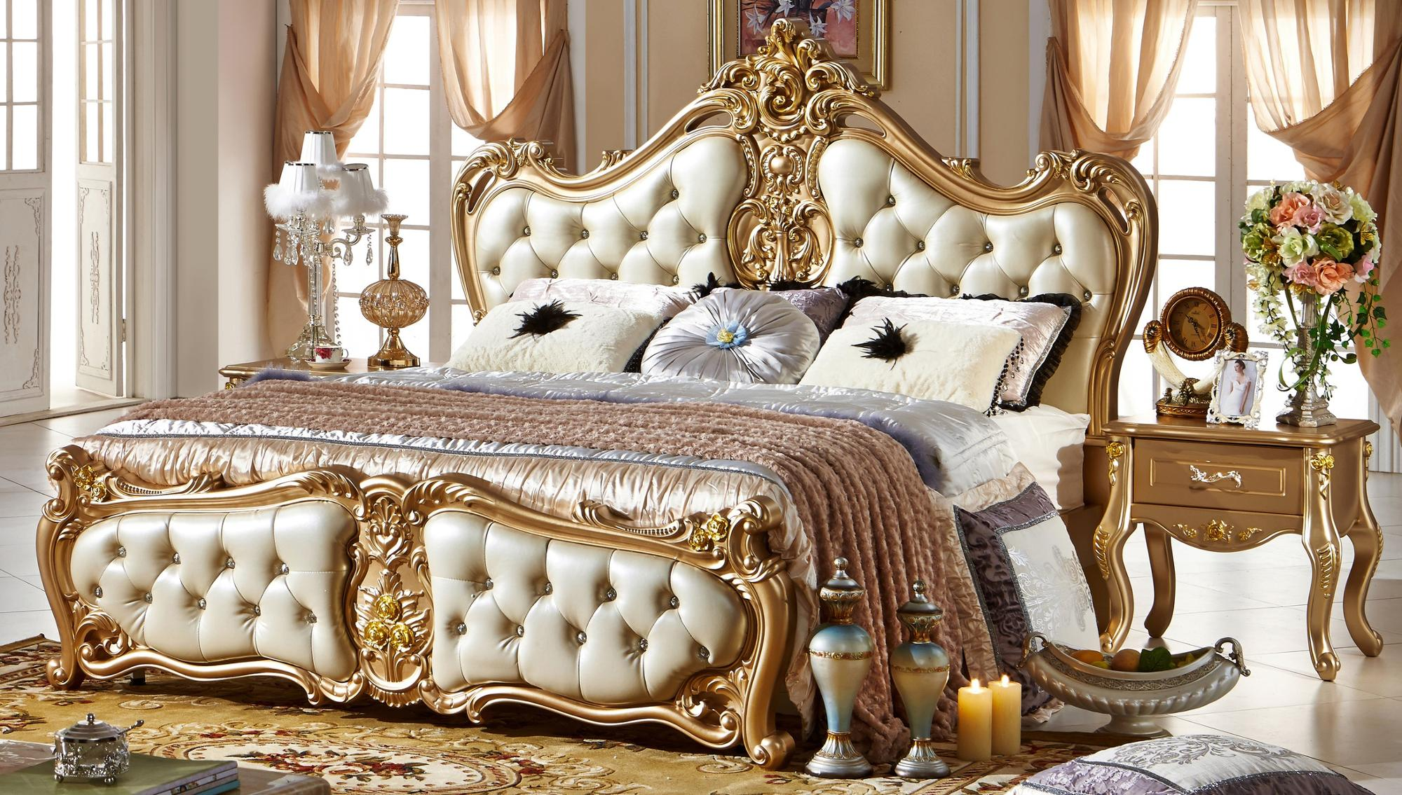 US $14.14 American modern style royal furniture antique 14 star hotel  bedroom setsdesigner leather bedsleather beditalian leather bed -  AliExpress