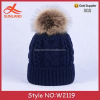 W2119 wholesale winter knitted hat bobble earflap crochet hat winter knitted hat with top ball