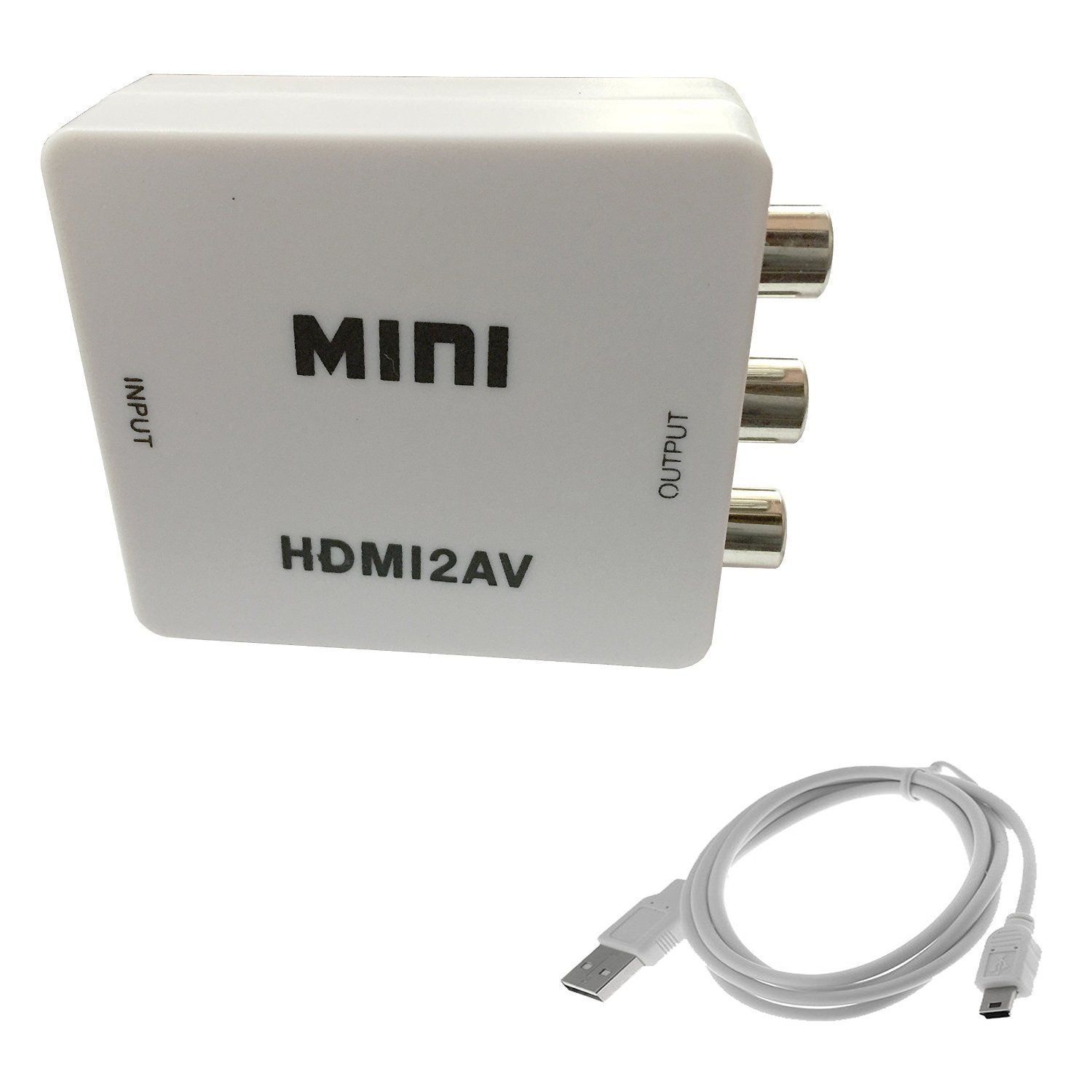 SNDIA Mini HDMI to AV Composite RCA CVbS Video + Audio Converter comes with 3 Chip set inside for TV PS3 VHS VCR DVD AY26
