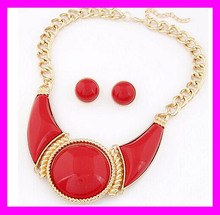 Most popular fashion ladies wholesale jewelry garnet necklace earring set HD3758