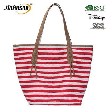 Stripe Women Anchor Beach Tote Bag