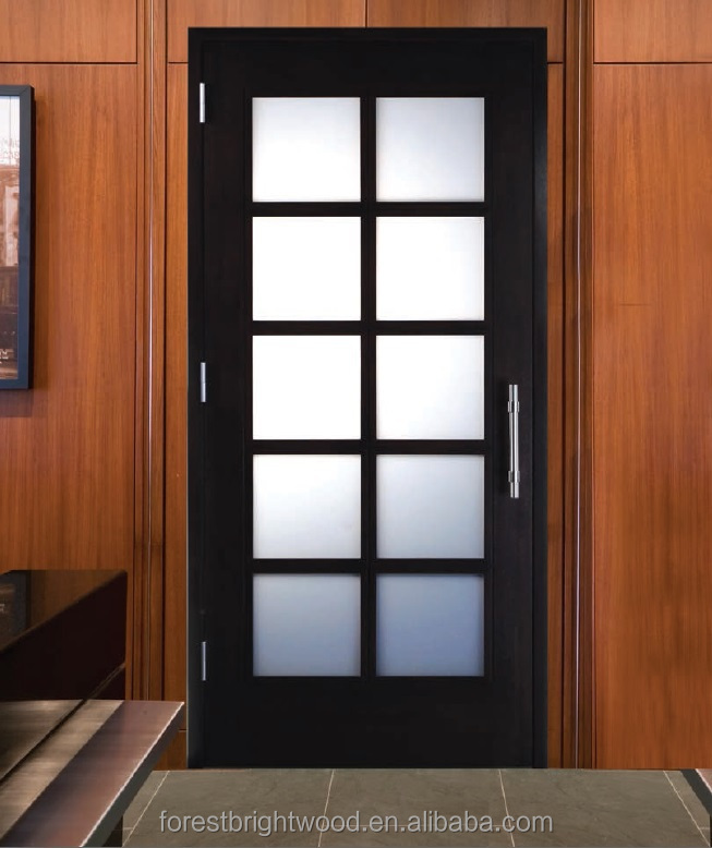 Interior white powder room wood door with 8 frosted glass View