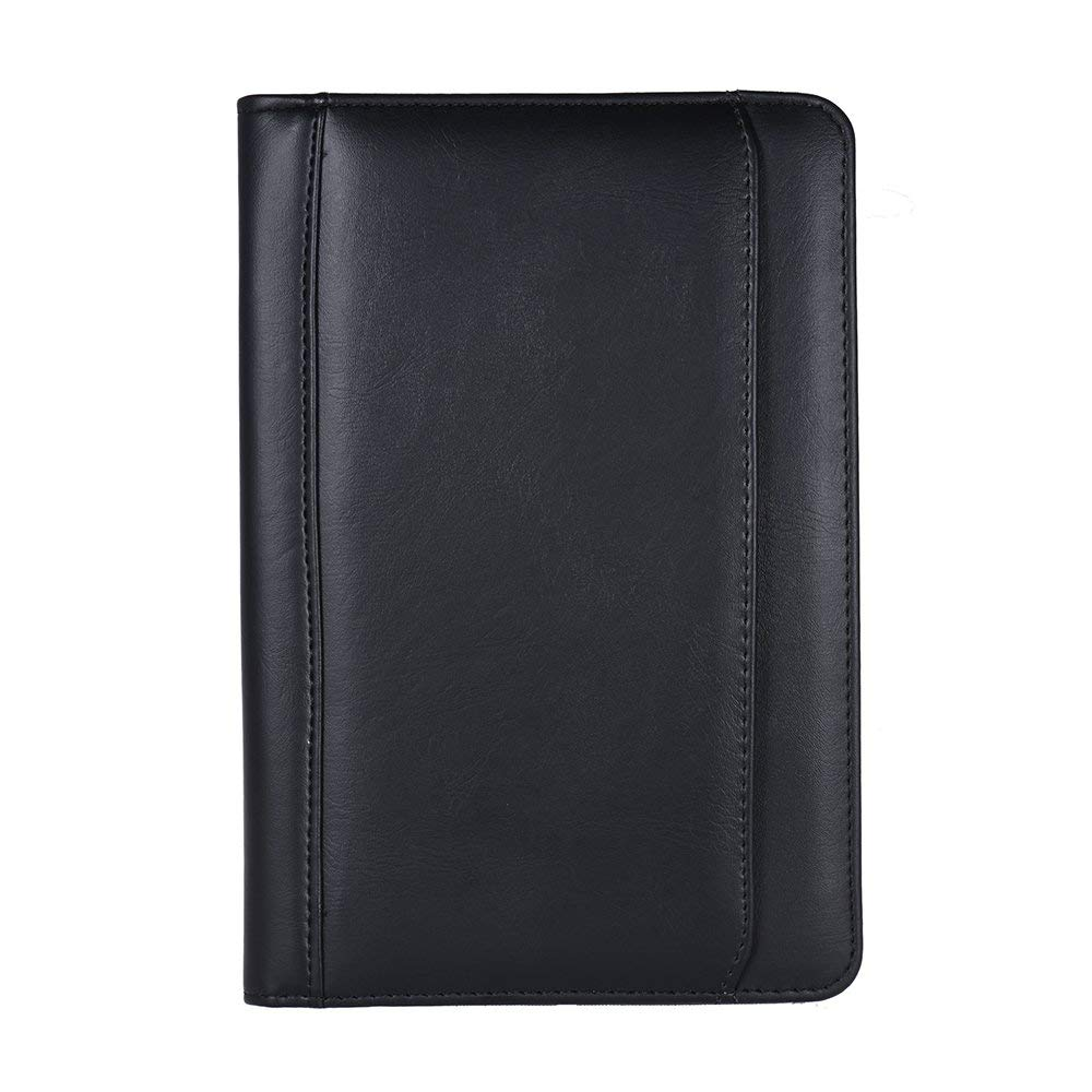 Black TEPSMIGO Zippered Porfolio with Calculator and Writing Pad PU Leather Business Padfolio Clipboard Conference Folder 3 Ring Binder