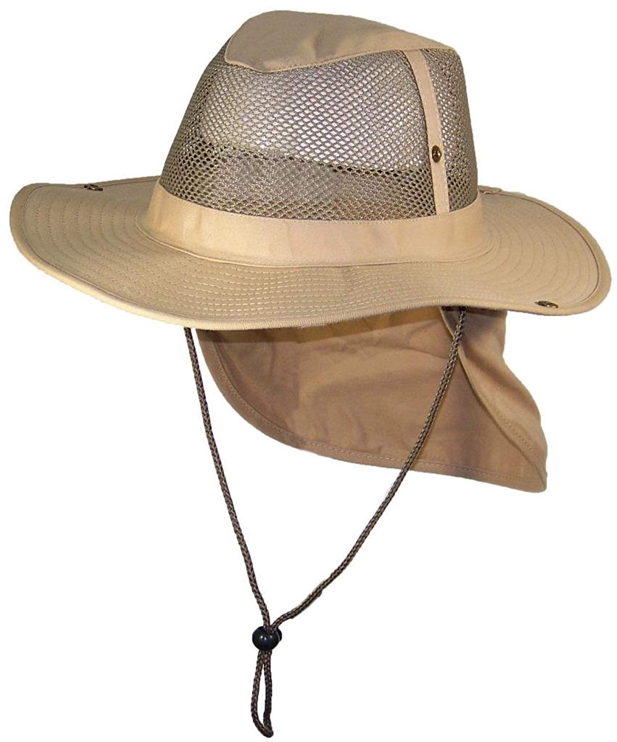 Get Quotations · Tropic Hats Summer Wide Brim Mesh Safari Outback W Neck  Flap   Snap Up f08f0181a55f