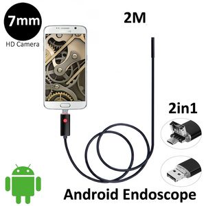 Wholesale 2 In 1 Micro USB Endoscope 2M 7mm Waterproof Snake Tube Inspection Camera with 6 LED for OTG Android Phone