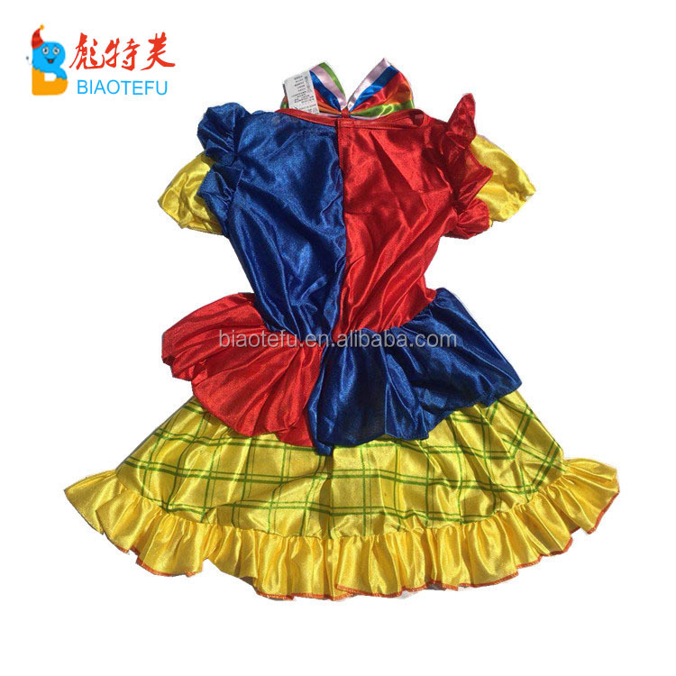 children carnival party cosplay funny girl clown fancy dress costumes for kids in stock