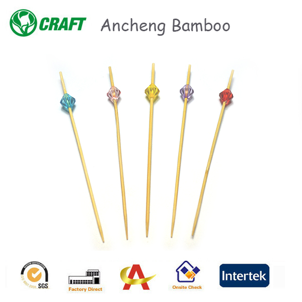 Hot sales of fruit similar to crystal ornament bamboo skewers