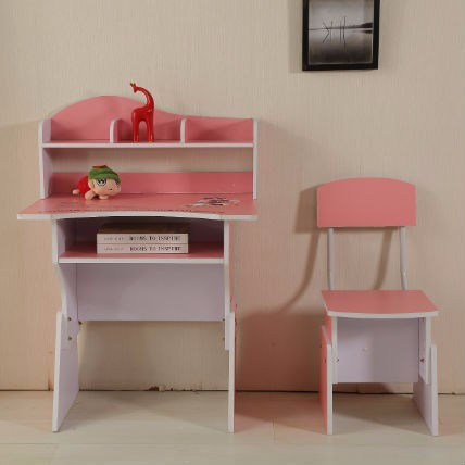 Kids pink wooden student study table with chair