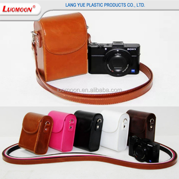 Stock elegant design leather camera bag for nikon l620/610 p330/310,with waterproof oil leather case