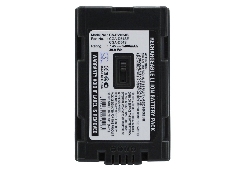 Battery for Panasonic AG-DVX100BE Li-ion 7.4V 5400mAh - CGA-D54, CGA-D54SE, VW-VBD55, CGA-D54SE/1H, CGA-D54S, CGR-D54S,