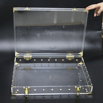 custom acrylic steamer trunk Flat-Top Clear Acrylic Chest with brass plated hardware