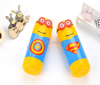 e5b58063c1 BPA Free plastic 450ml 16oz Minions water PET drink bottle with straw,  empty special design