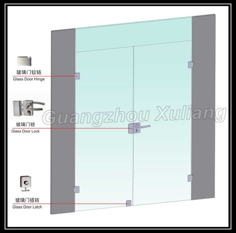 Frameless commercial double glass doors double swing door for Double glass doors