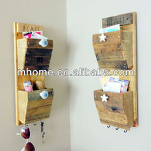 2 Bin Rustic Wall Mounted Wooden Mail Organizer with Design Options