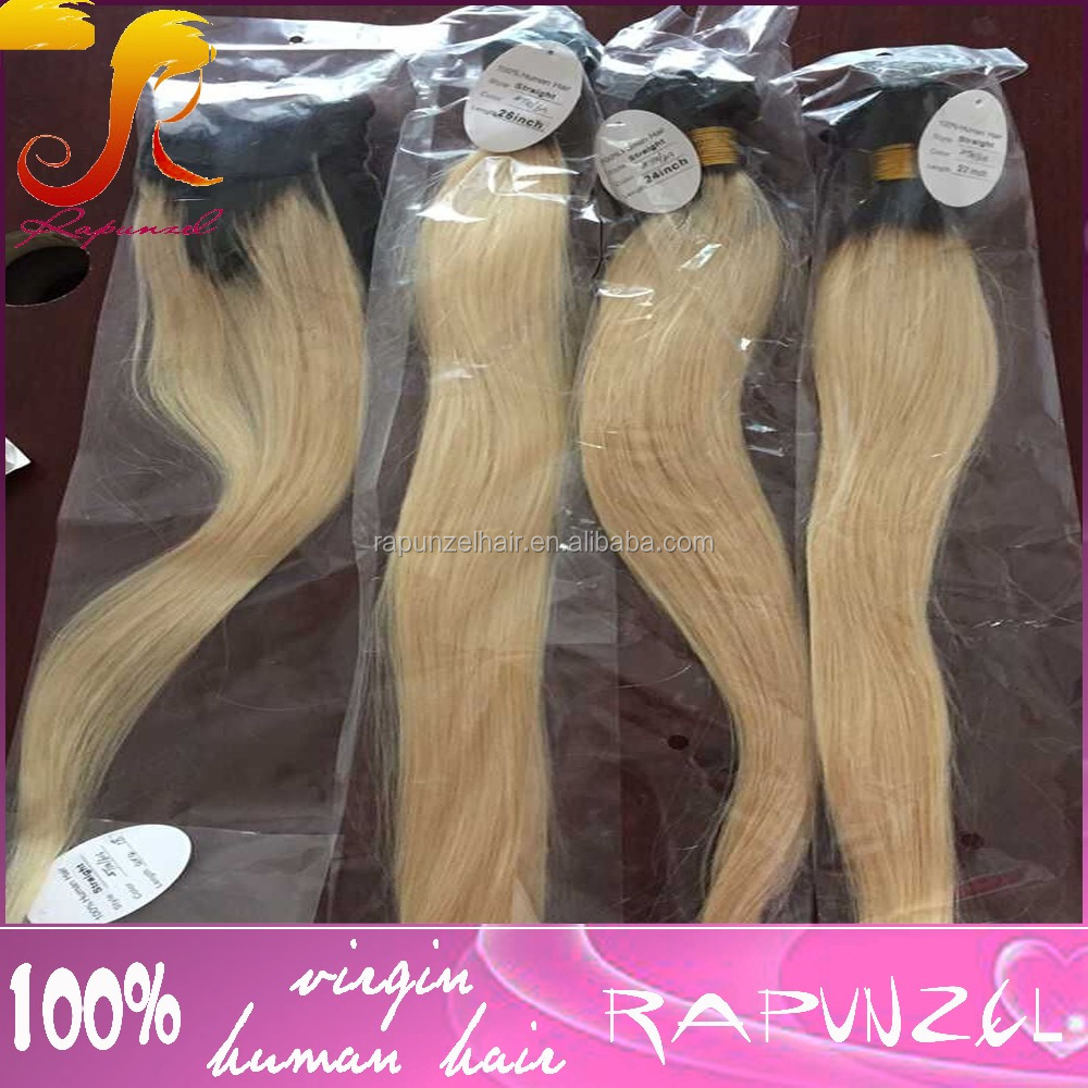 Two tone 1b/613 ombre cheap brazilian virgin hair bundles with lace closure
