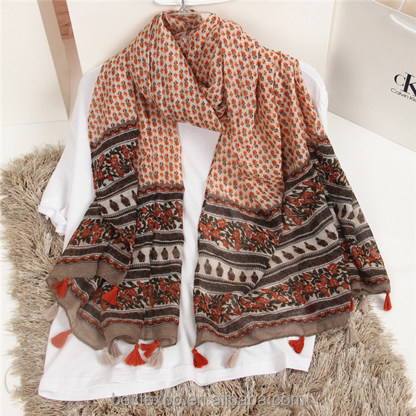 2017 spring fashion girl cotton scarf with fringe nepal pashmina shawls