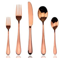 Royal Flatware Rose Gold Titanium Coated Stainless Steel Cutlery Set
