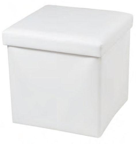 Blanco Faux cuero cubo plegable reposapiés portátil de ...