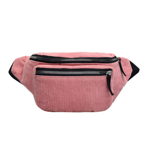 Belt Bag Women New Leisure Solid Color Panelled Zipper Corduroy Messenger Bag Chest Waist Bag Packs For Ladies