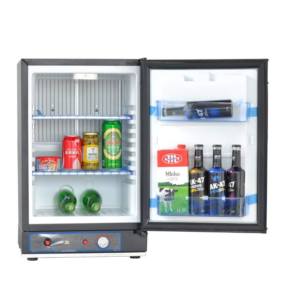 Smad Gas Fridge Compact Refrigerator DC12V/AC110V/LPG 40L, Black