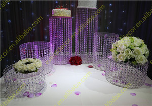 High quality clear acrylic cake stand , round crystal chandelier wedding cake stand