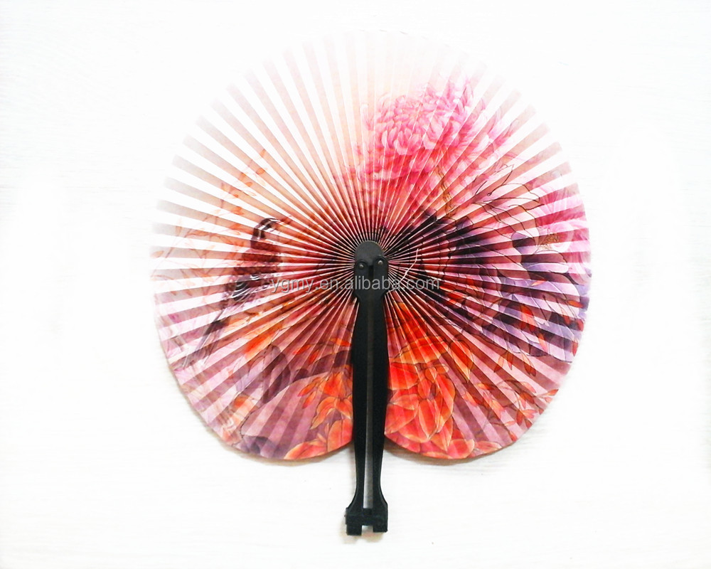 Foldable Chinese Oriental Floral Round Paper Hand Fans Wedding Table ...