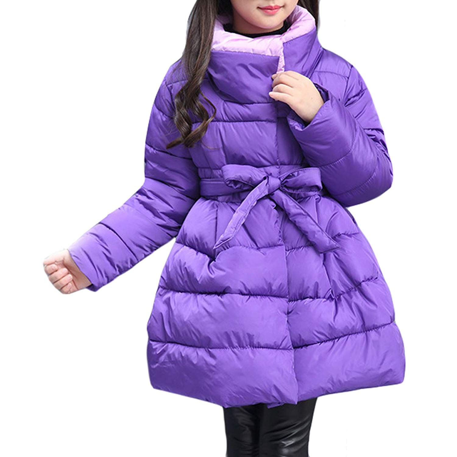 Girls Jacket Coat Padded Winter Fur Hooded Floral Polka Dots Belted 3-14 Years