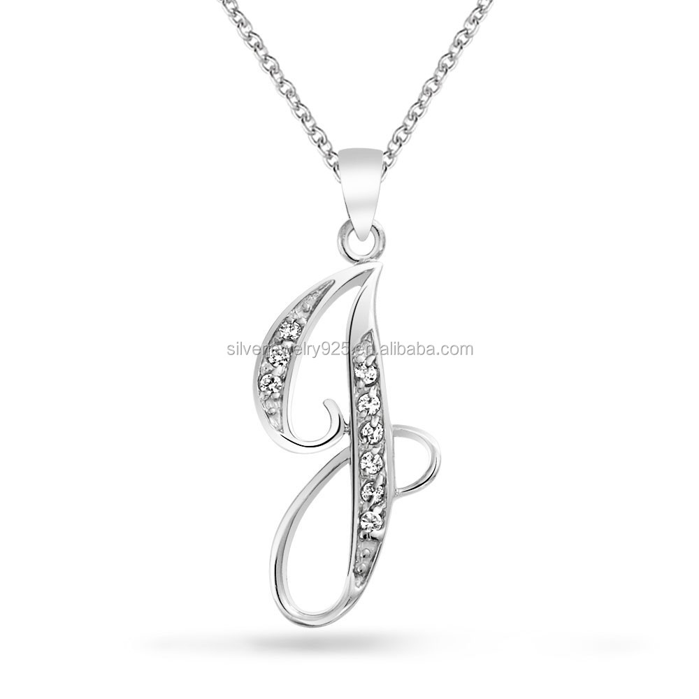 stones link of inch pendant ladies silver products with sterling the alphabet letters zirconia real cubic an necklace and cz r
