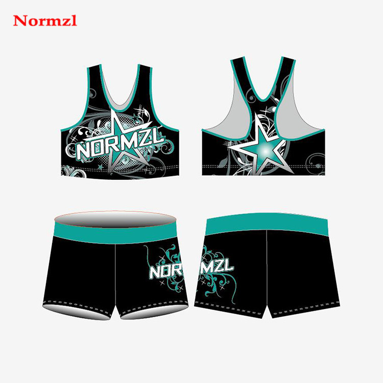 Wholesale Customized Cheerleading Practice Wear Crop Tops Shorts Sublimation Cheer Uniforms