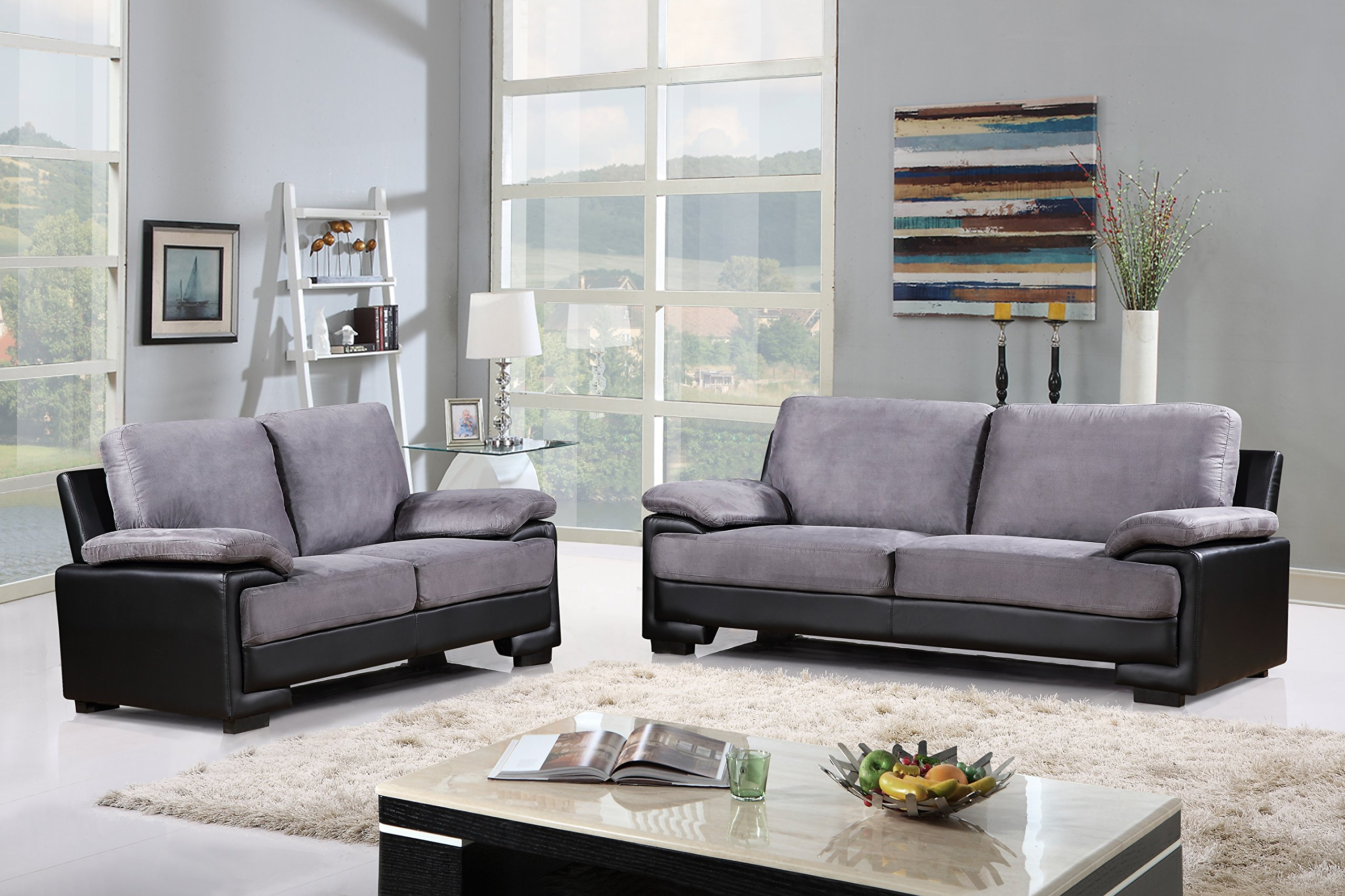 Modern Faux Leather And Brush Microfiber Sofa Loveseat Living Room Furniture Set Black
