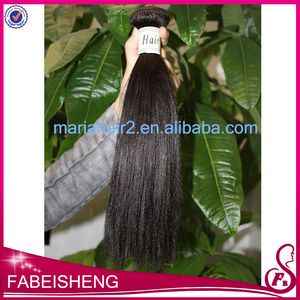 wholesale top grade natural color 1B 100 human relaxed kinky straight hair weaving