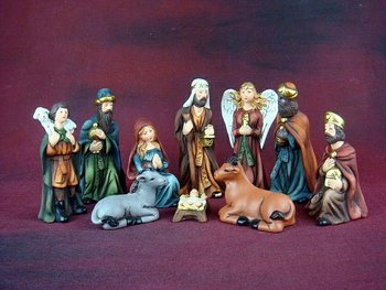 ceramic nativity set manger 11140
