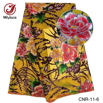 Colorful wholesale flowe pattern imitated silk embroidered velvet fabric for dresses