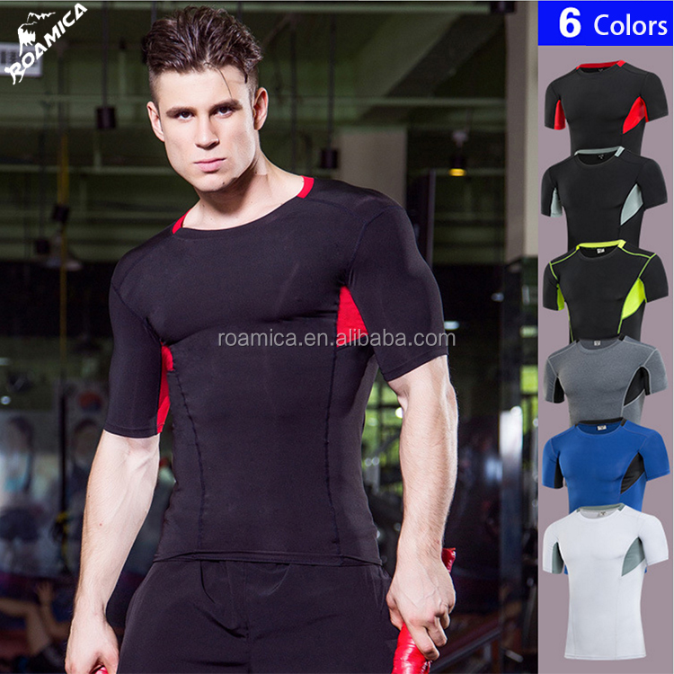 China Factory Wholesale Lycra Gym Clothes Custom Printing Logo Mens T Shirt for Fitness Athletic Wear