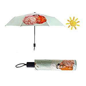 EDTara Woman Outdoor Sunshade All-weather Umbrella Folding Anti-UV Sunproof Parasol