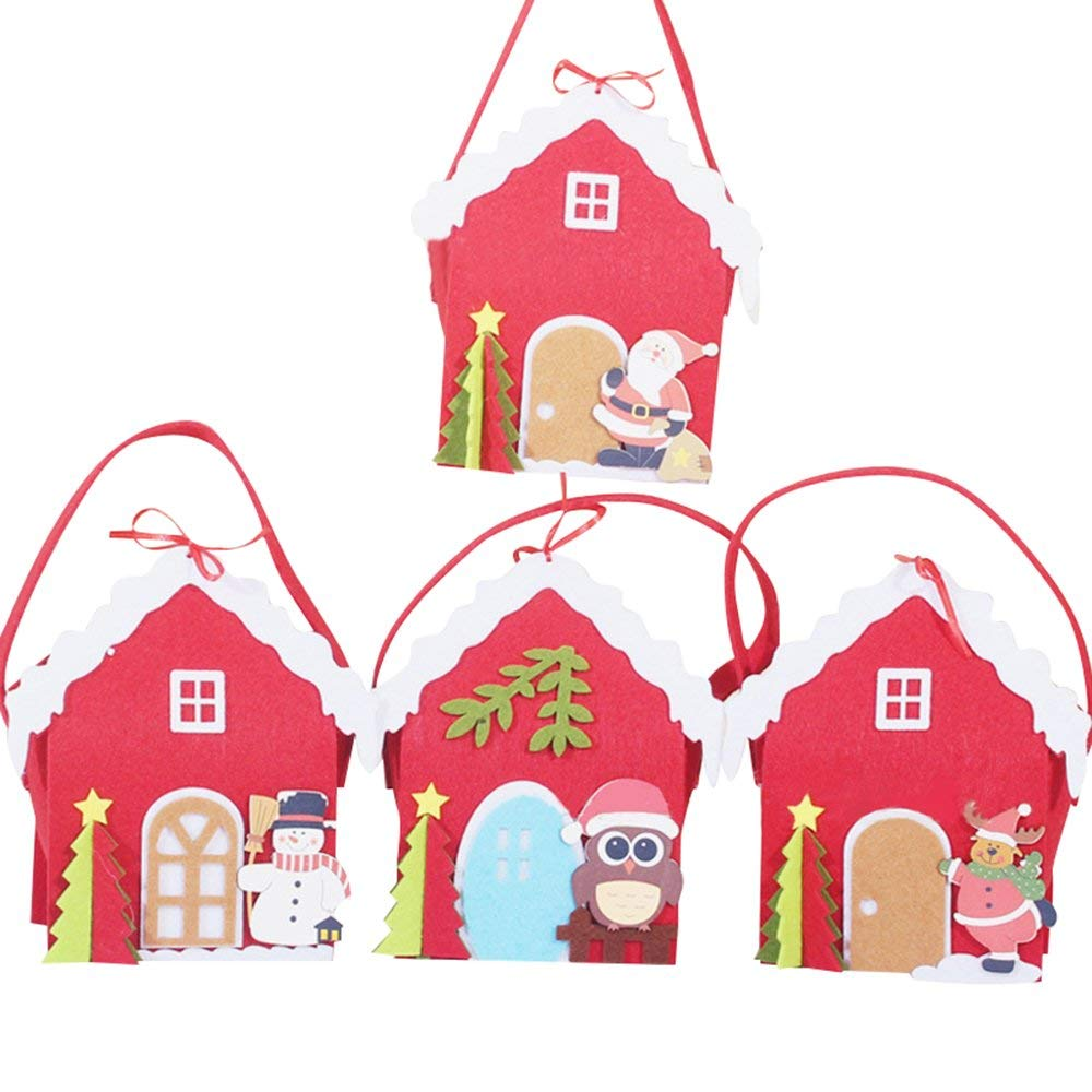 """Riverbyland Christmas Goodie Bags 7"""" x 4"""" Holiday Candy Gift Wrapping Set of 4"""