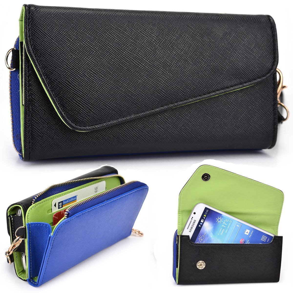 Black and Royal Blue Crossbody Case for LG G4 Pro, Flex, G Pro 2 D830 D838 F350K F350L F350S Smartphone Phablet