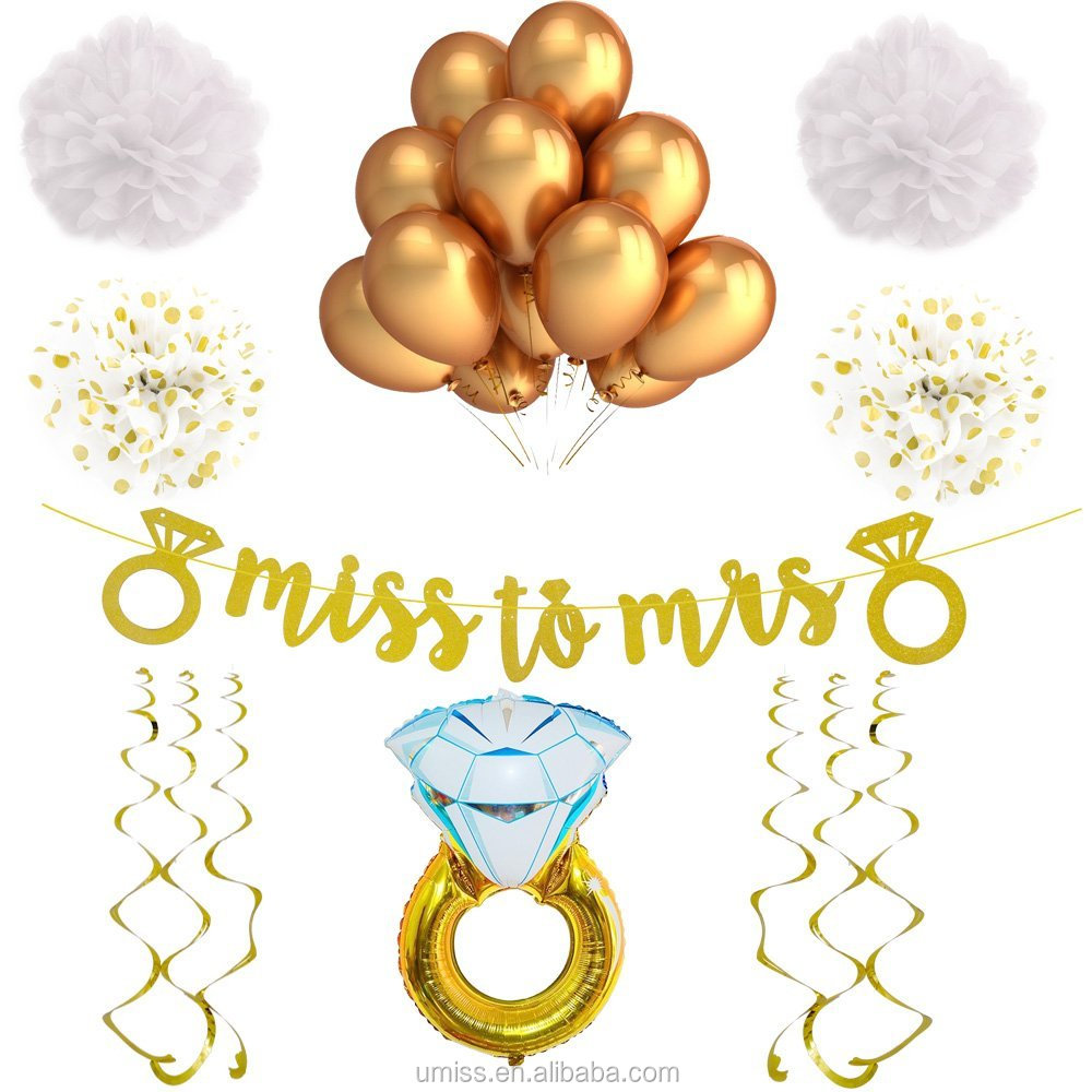 Umiss White and Gold Bachelorette Party Decorations and Accessories for a Classy Bridal Shower or Engagement Party Miss to Mrs