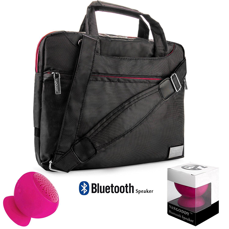 "NineO Sport Nylon Shoulder Bag Carrying Case For Samsung Nexus 10, Tablet PC (Manta) 10"" + Pink Bluetooth Suction Speaker"