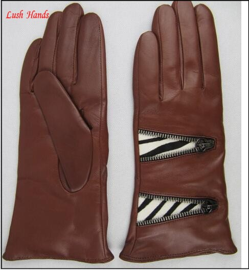 Ladies dr brown leather gloves with metal zipper stich pattern