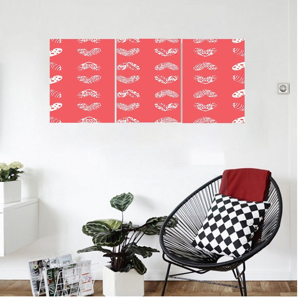 Liguo88 Custom canvas Coral Decor Distressed Heart Shaped Cute Coral Motifs Living Icons Married Wedding Love Signs Wall Hanging for Bedroom Living Room Red